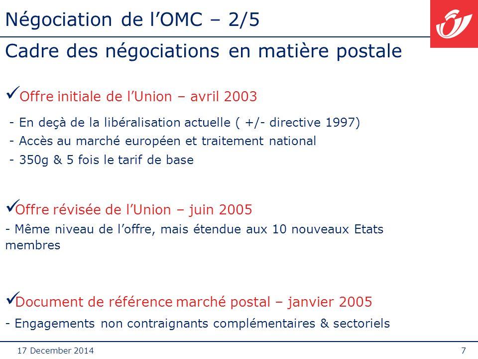 17 December 20148 Négociation de l'OMC – 3/5 services postaux ETENDUE: secteur postal et services de courrier en ce compris l'express (classification traditionnelle de l'Union) SERVICE UNIVERSEL: élément central du secteur postal de la majorité des Etats membres.