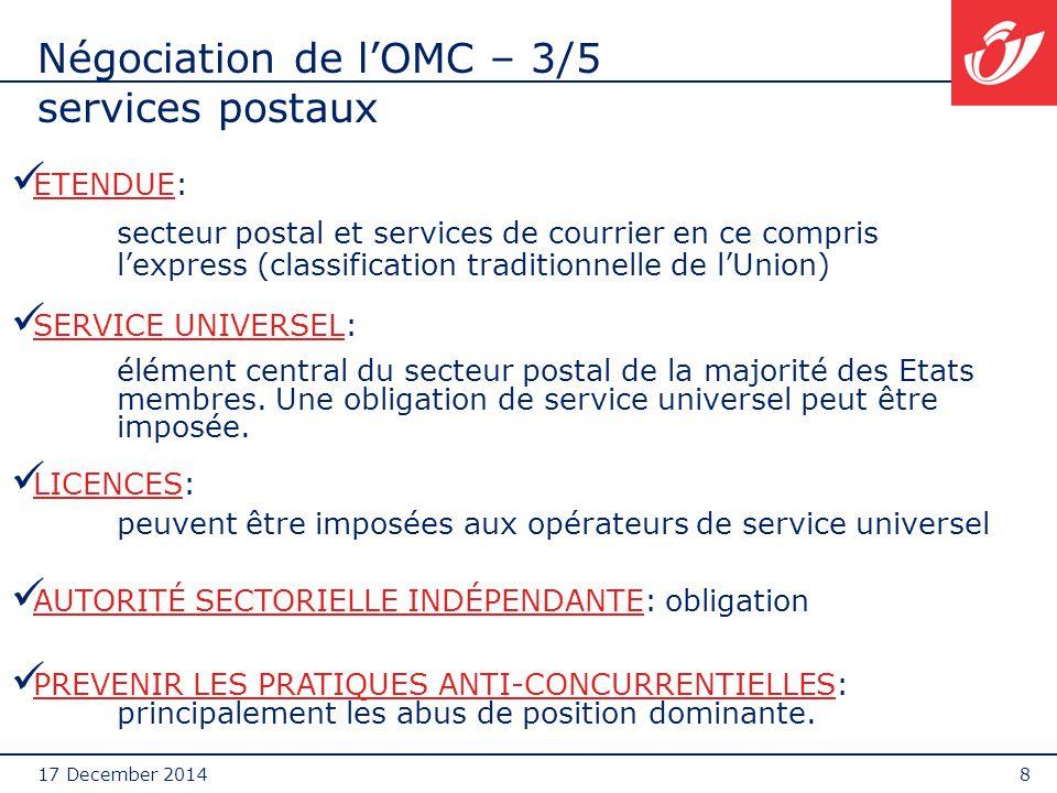 17 December 20149 Négociation de l'OMC – 4/5 Impact des négociation de l'OMC Discussion en cours entre l'UE, Hong-Kong, Japon, Chine, Nouvelle-Zelande, Suisse, USA (groupe Postal Friends ) :  Division du secteur en deux sous-chapitres (A.