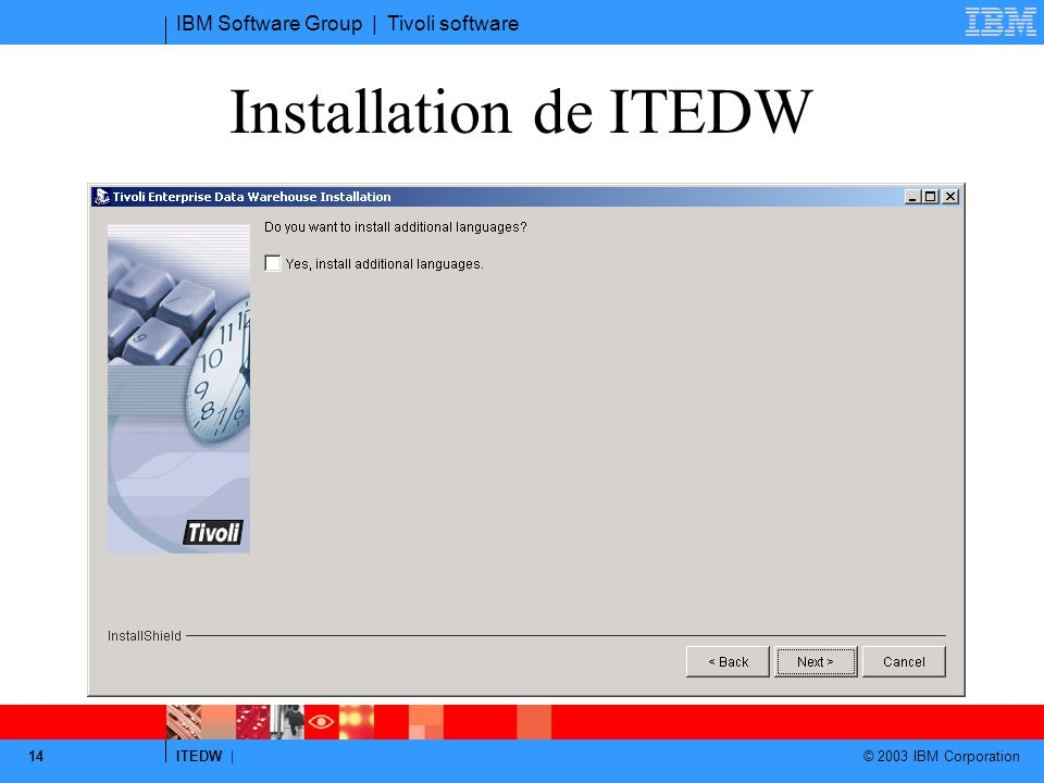 IBM Software Group | Tivoli software ITEDW | © 2003 IBM Corporation 14 Installation de ITEDW