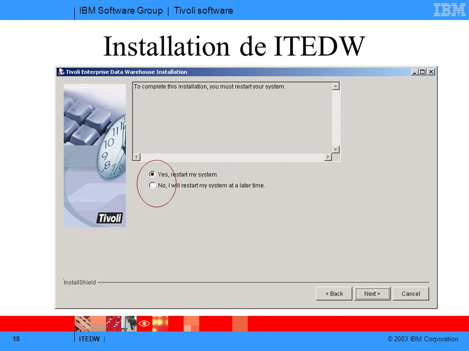 IBM Software Group | Tivoli software ITEDW | © 2003 IBM Corporation 18 Installation de ITEDW