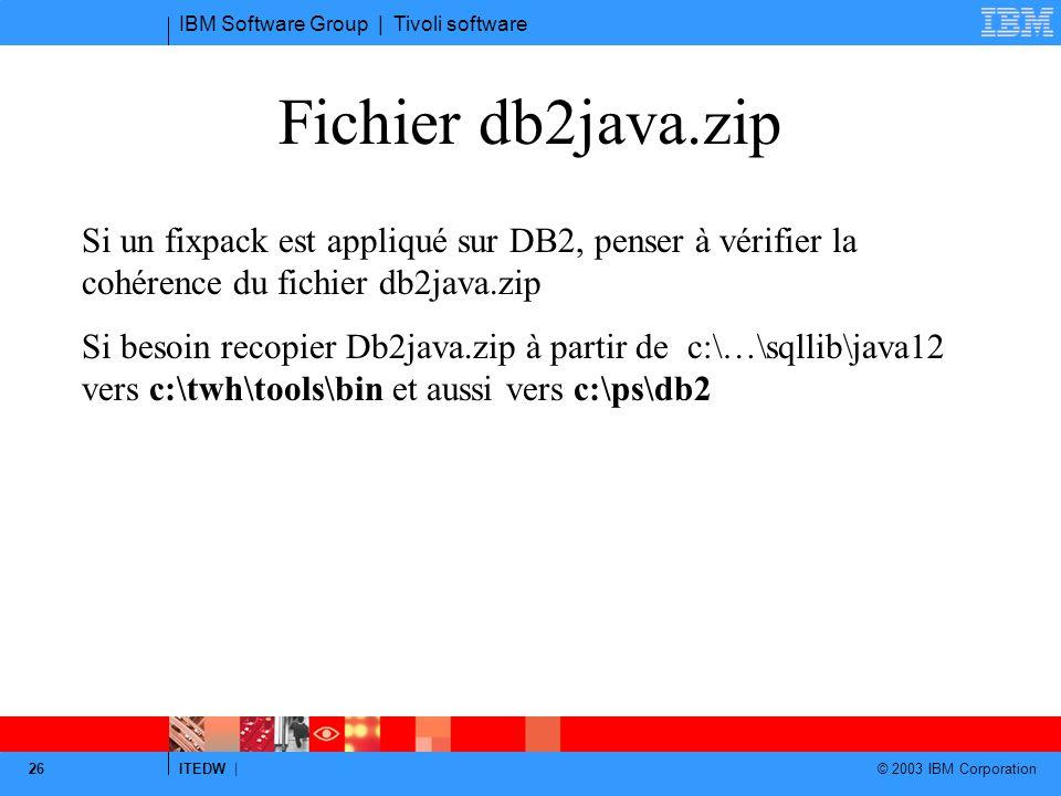 IBM Software Group | Tivoli software ITEDW | © 2003 IBM Corporation 26 Fichier db2java.zip Si un fixpack est appliqué sur DB2, penser à vérifier la co