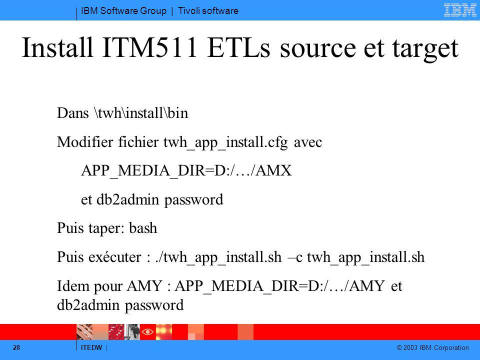 IBM Software Group | Tivoli software ITEDW | © 2003 IBM Corporation 28 Install ITM511 ETLs source et target Dans \twh\install\bin Modifier fichier twh