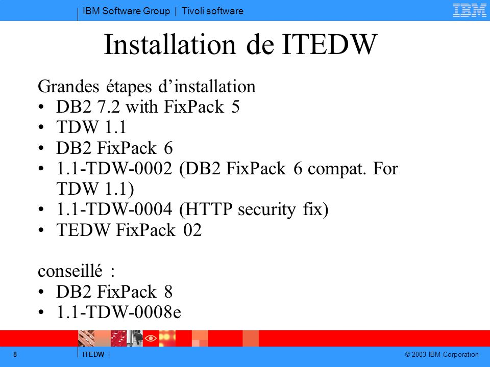IBM Software Group | Tivoli software ITEDW | © 2003 IBM Corporation 8 Installation de ITEDW Grandes étapes d'installation DB2 7.2 with FixPack 5 TDW 1.1 DB2 FixPack 6 1.1-TDW-0002 (DB2 FixPack 6 compat.