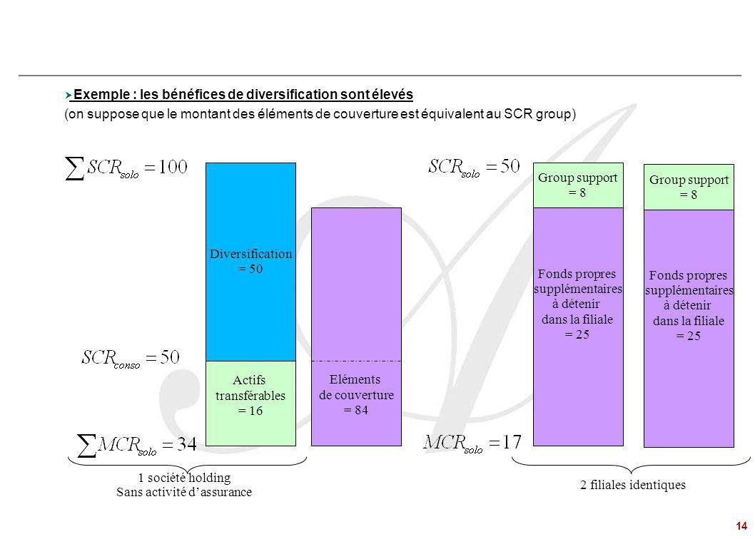 14 Problématiques de Groupe – le régime du « Group Support »  Exemple : les bénéfices de diversification sont élevés (on suppose que le montant des é