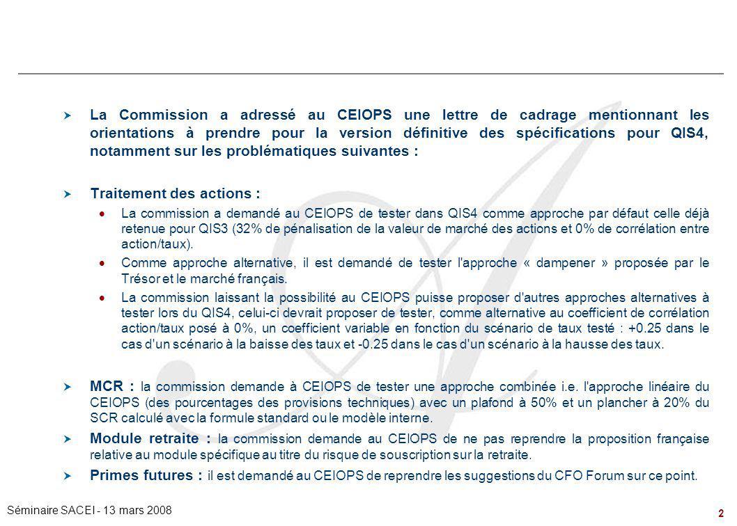 2 Séminaire SACEI - 13 mars 2008  La Commission a adressé au CEIOPS une lettre de cadrage mentionnant les orientations à prendre pour la version défi
