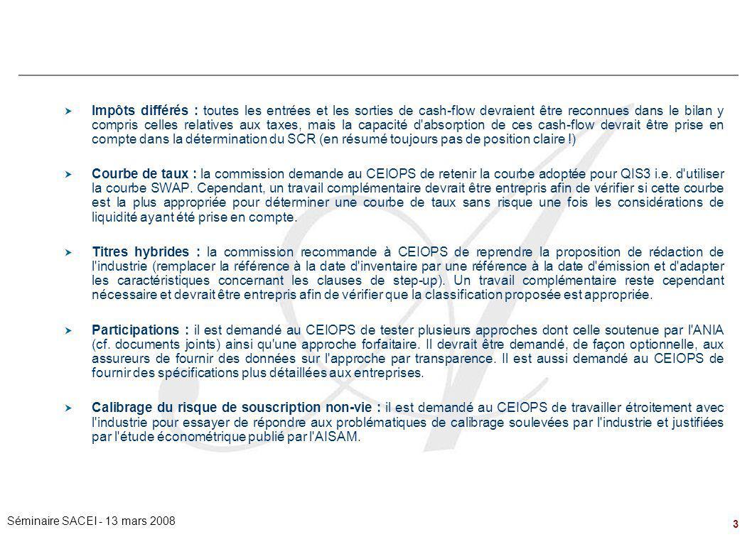 3 Séminaire SACEI - 13 mars 2008  Impôts différés : toutes les entrées et les sorties de cash-flow devraient être reconnues dans le bilan y compris c