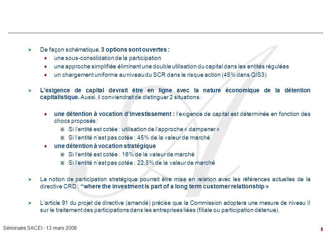 8 Séminaire SACEI - 13 mars 2008 Les titres de participation  De façon schématique, 3 options sont ouvertes :  une sous-consolidation de la particip