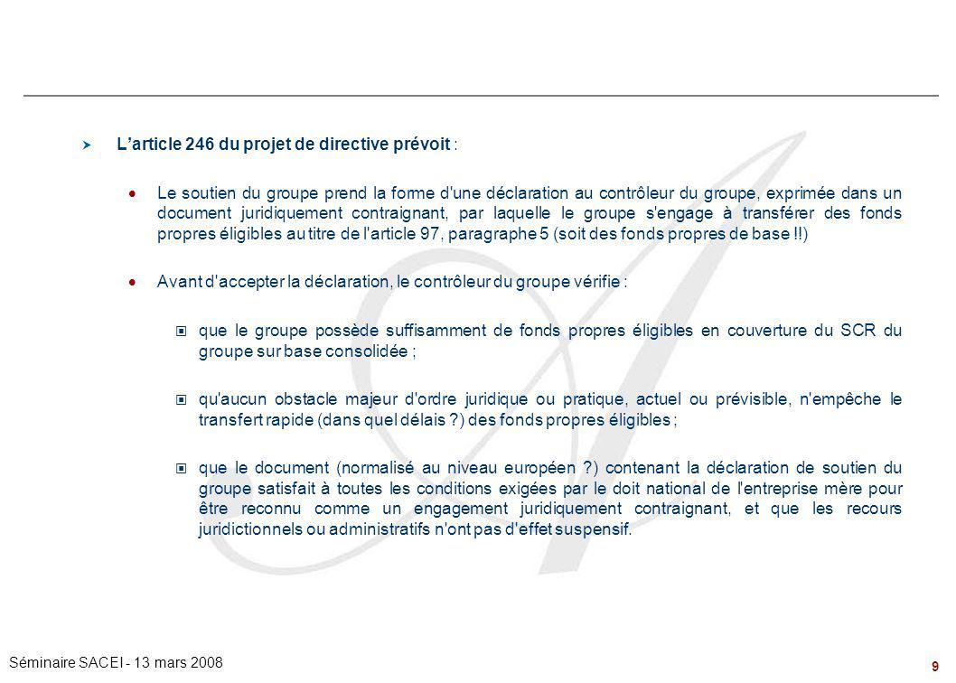 9 Séminaire SACEI - 13 mars 2008 Problématiques de Groupe – le régime du « Group Support »  L'article 246 du projet de directive prévoit :  Le souti