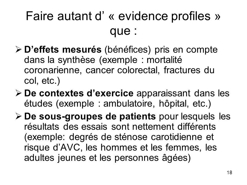 18 Faire autant d' « evidence profiles » que :  D'effets mesurés (bénéfices) pris en compte dans la synthèse (exemple : mortalité coronarienne, cance