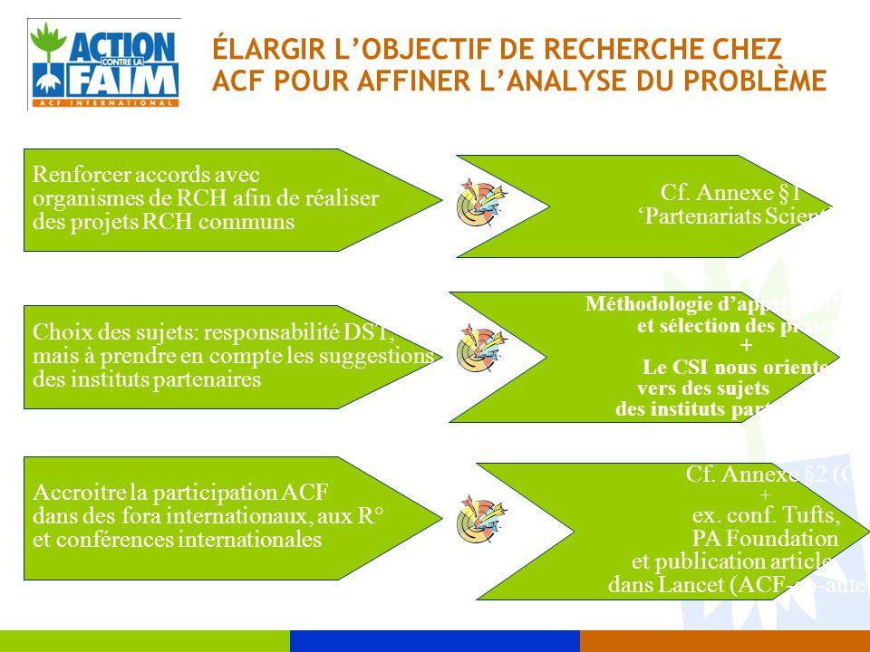 ÉLARGIR L'OBJECTIF DE RECHERCHE CHEZ ACF POUR AFFINER L'ANALYSE DU PROBLÈME Renforcer accords avec organismes de RCH afin de réaliser des projets RCH communs Cf.