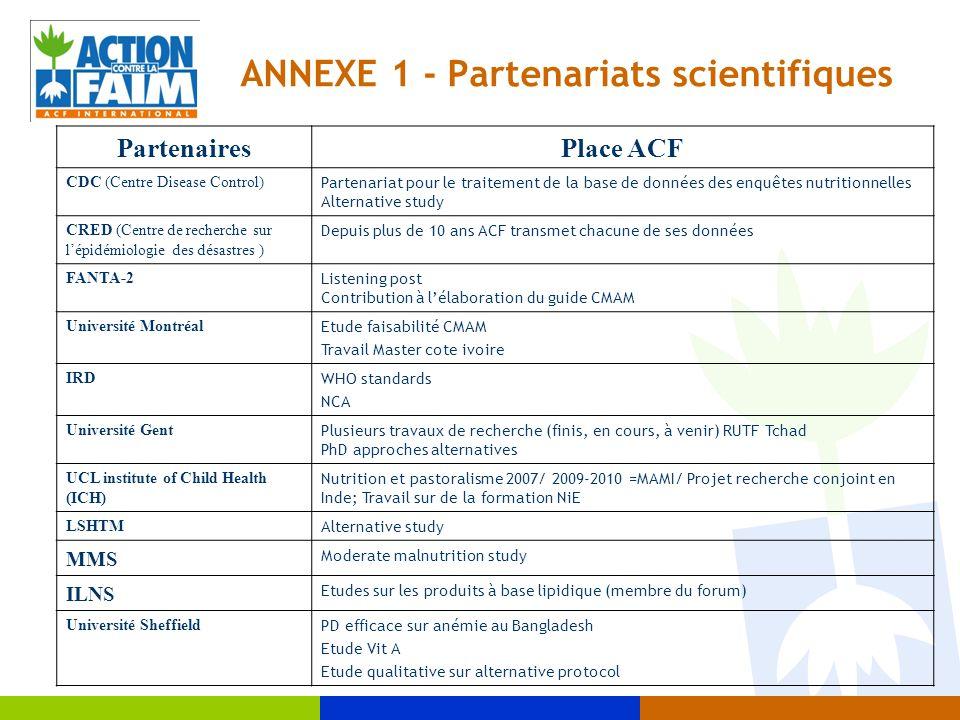 ANNEXE 1 - Partenariats scientifiques PartenairesPlace ACF CDC (Centre Disease Control) Partenariat pour le traitement de la base de données des enquê