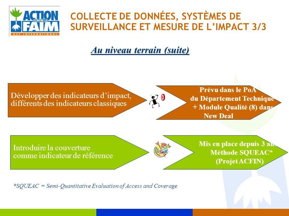 COLLECTE DE DONNÉES, SYSTÈMES DE SURVEILLANCE ET MESURE DE L'IMPACT 3/3 Introduire la couverture comme indicateur de référence Au niveau terrain (suit