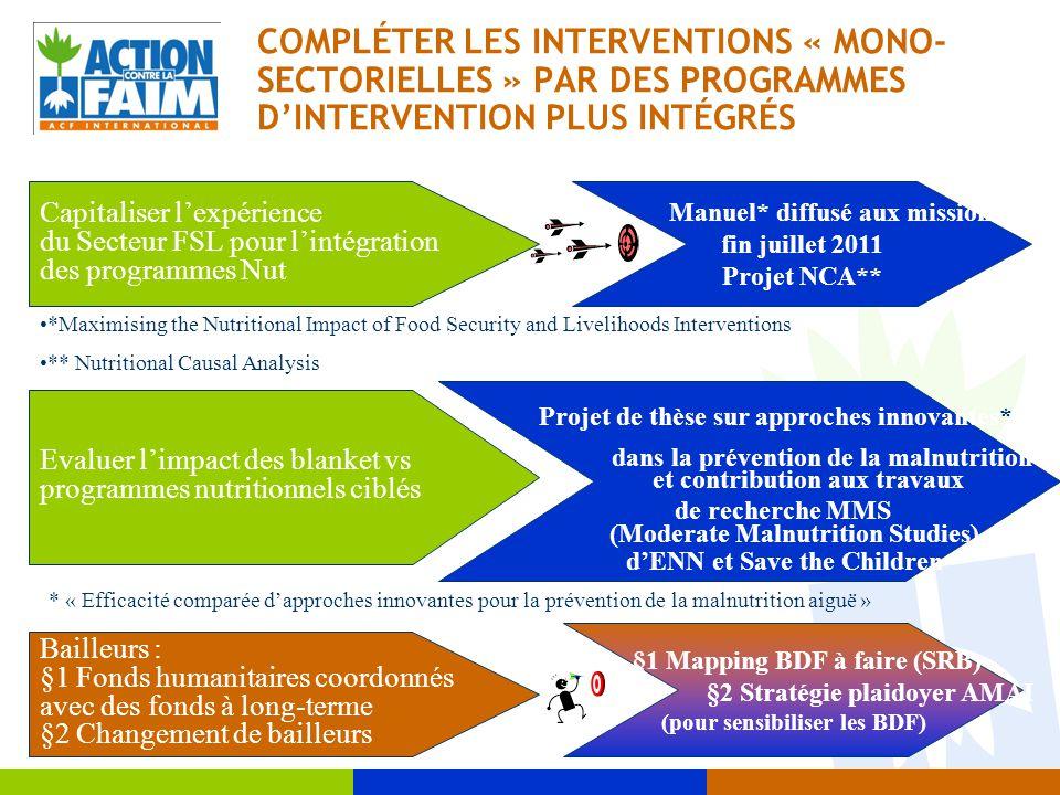 COMPLÉTER LES INTERVENTIONS « MONO- SECTORIELLES » PAR DES PROGRAMMES D'INTERVENTION PLUS INTÉGRÉS Bailleurs : §1 Fonds humanitaires coordonnés avec d