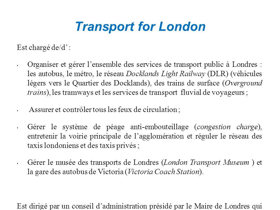 Transport for London Est chargé de/d' : Organiser et gérer l'ensemble des services de transport public à Londres : les autobus, le métro, le réseau Docklands Light Railway (DLR) (véhicules légers vers le Quartier des Docklands), des trains de surface (Overground trains), les tramways et les services de transport fluvial de voyageurs ; Assurer et contrôler tous les feux de circulation ; Gérer le système de péage anti-embouteillage (congestion charge), entretenir la voirie principale de l'agglomération et réguler le réseau des taxis londoniens et des taxis privés ; Gérer le musée des transports de Londres (London Transport Museum ) et la gare des autobus de Victoria (Victoria Coach Station).