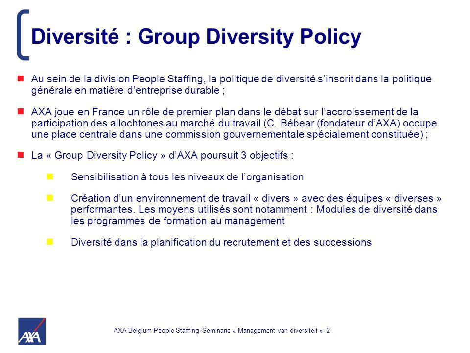 AXA Belgium People Staffing- Seminarie « Management van diversiteit » -2 Au sein de la division People Staffing, la politique de diversité s'inscrit dans la politique générale en matière d'entreprise durable ; AXA joue en France un rôle de premier plan dans le débat sur l'accroissement de la participation des allochtones au marché du travail (C.