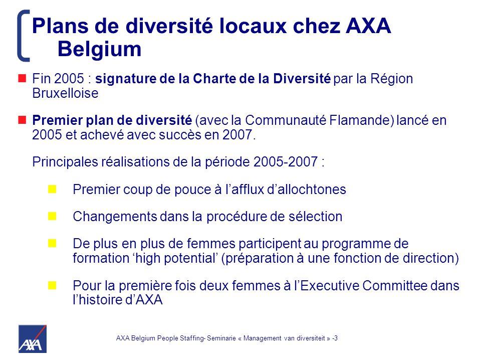 AXA Belgium People Staffing- Seminarie « Management van diversiteit » -3 Fin 2005 : signature de la Charte de la Diversité par la Région Bruxelloise Premier plan de diversité (avec la Communauté Flamande) lancé en 2005 et achevé avec succès en 2007.