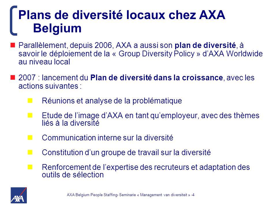 AXA Belgium People Staffing- Seminarie « Management van diversiteit » -4 Parallèlement, depuis 2006, AXA a aussi son plan de diversité, à savoir le déploiement de la « Group Diversity Policy » d'AXA Worldwide au niveau local 2007 : lancement du Plan de diversité dans la croissance, avec les actions suivantes : Réunions et analyse de la problématique Etude de l'image d'AXA en tant qu'employeur, avec des thèmes liés à la diversité Communication interne sur la diversité Constitution d'un groupe de travail sur la diversité Renforcement de l'expertise des recruteurs et adaptation des outils de sélection Plans de diversité locaux chez AXA Belgium