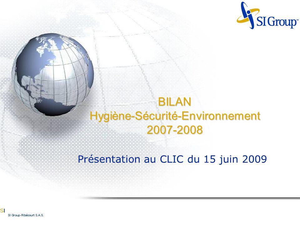 BILAN Hygiène-Sécurité-Environnement 2007-2008 Présentation au CLIC du 15 juin 2009