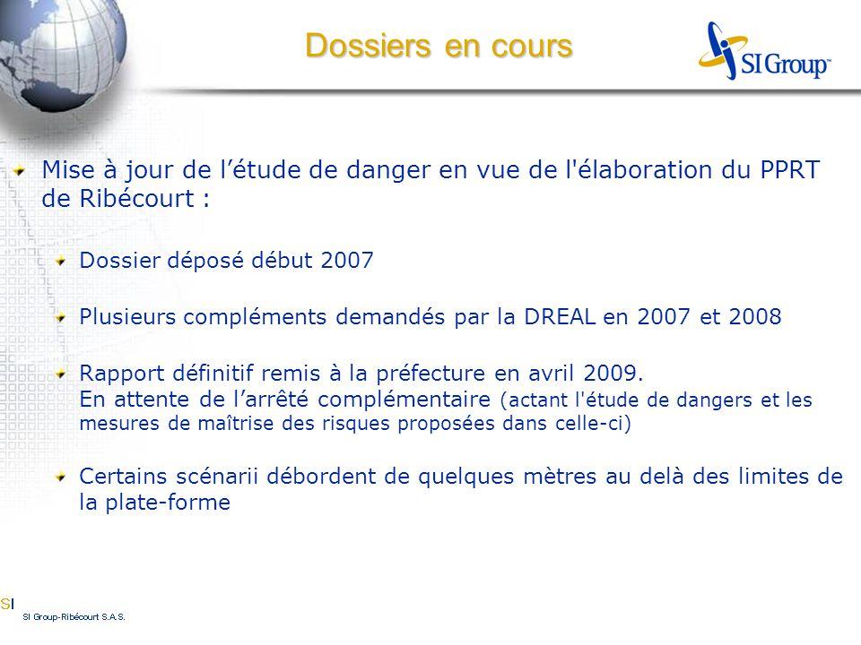 Mise à jour de l'étude de danger en vue de l élaboration du PPRT de Ribécourt : Dossier déposé début 2007 Plusieurs compléments demandés par la DREAL en 2007 et 2008 Rapport définitif remis à la préfecture en avril 2009.