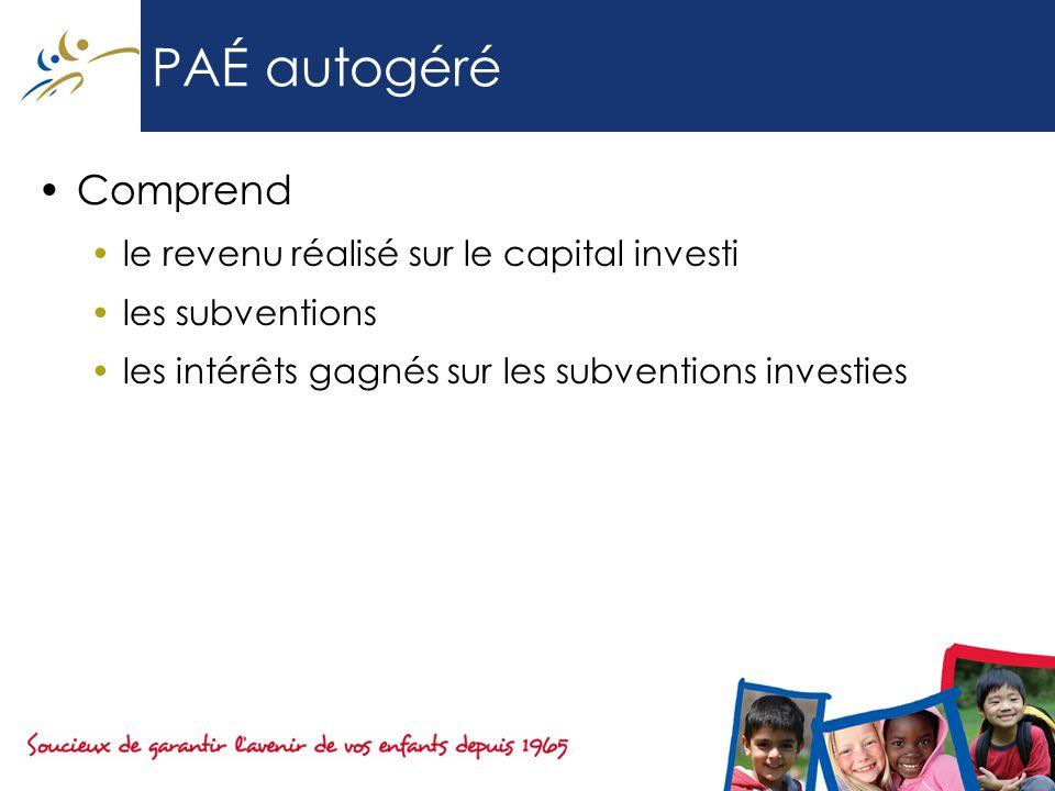 PAÉ autogéré Comprend le revenu réalisé sur le capital investi les subventions les intérêts gagnés sur les subventions investies