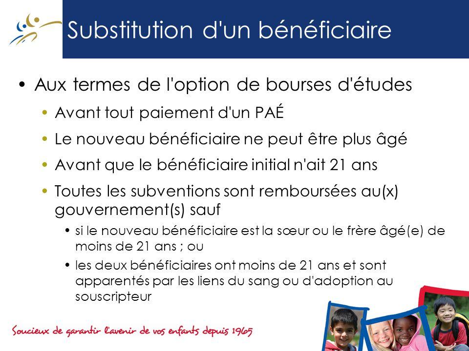 Substitution d un bénéficiaire Aux termes de l option de bourses d études Avant tout paiement d un PAÉ Le nouveau bénéficiaire ne peut être plus âgé Avant que le bénéficiaire initial n ait 21 ans Toutes les subventions sont remboursées au(x) gouvernement(s) sauf si le nouveau bénéficiaire est la sœur ou le frère âgé(e) de moins de 21 ans ; ou les deux bénéficiaires ont moins de 21 ans et sont apparentés par les liens du sang ou d adoption au souscripteur