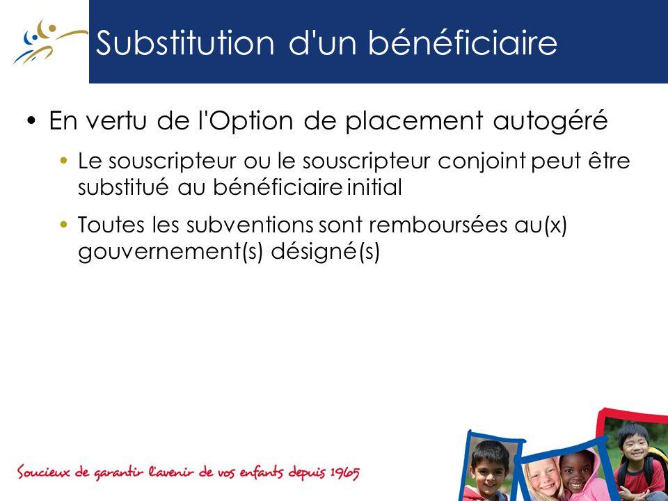 Substitution d un bénéficiaire En vertu de l Option de placement autogéré Le souscripteur ou le souscripteur conjoint peut être substitué au bénéficiaire initial Toutes les subventions sont remboursées au(x) gouvernement(s) désigné(s)