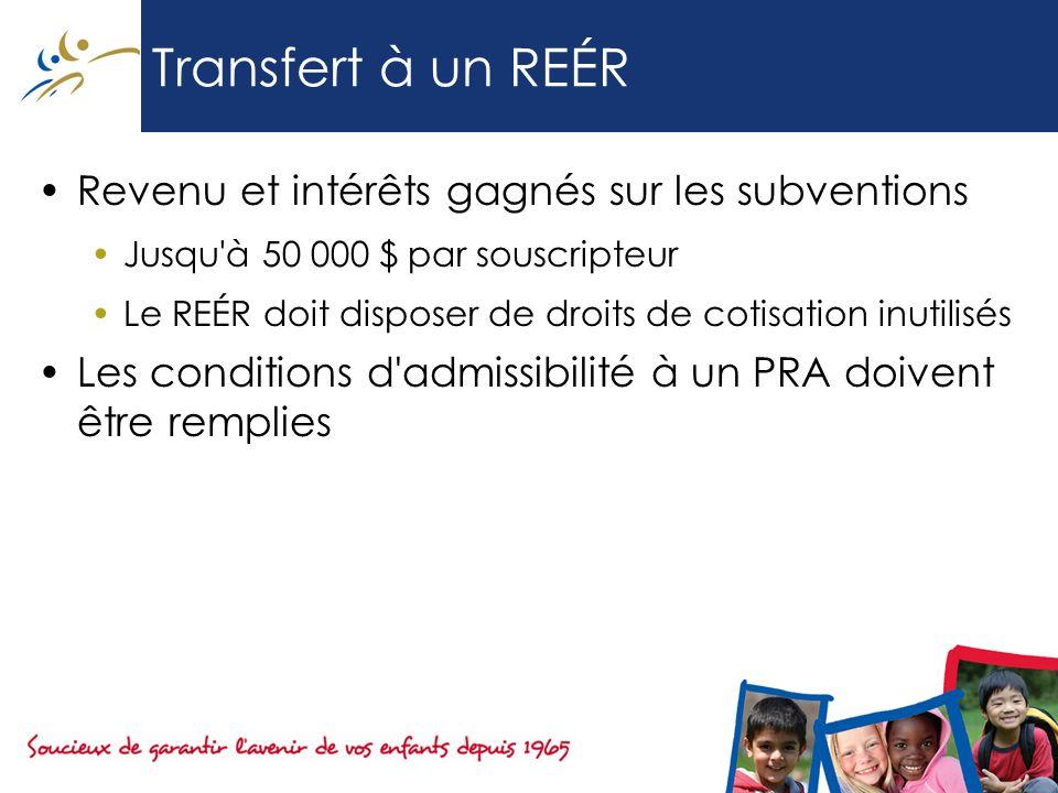 Transfert à un REÉR Revenu et intérêts gagnés sur les subventions Jusqu à 50 000 $ par souscripteur Le REÉR doit disposer de droits de cotisation inutilisés Les conditions d admissibilité à un PRA doivent être remplies