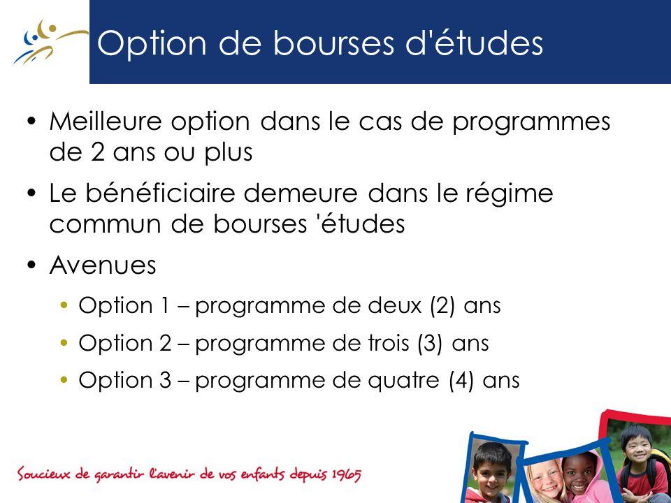 Option de bourses d études Meilleure option dans le cas de programmes de 2 ans ou plus Le bénéficiaire demeure dans le régime commun de bourses études Avenues Option 1 – programme de deux (2) ans Option 2 – programme de trois (3) ans Option 3 – programme de quatre (4) ans