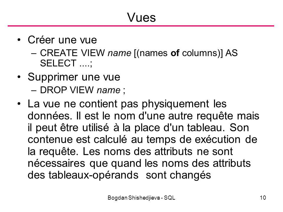 Bogdan Shishedjievв - SQL10 Vues Créer une vue –CREATE VIEW name [(names of columns)] AS SELECT....; Supprimer une vue –DROP VIEW name ; La vue ne contient pas physiquement les données.