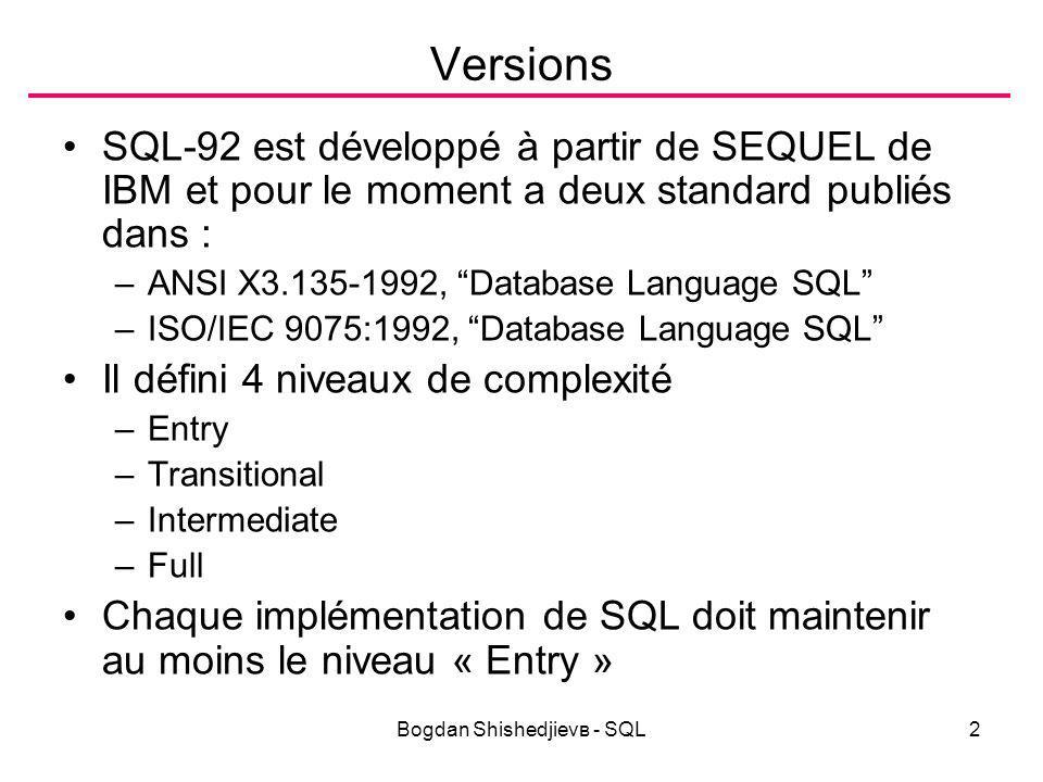 Bogdan Shishedjievв - SQL43 Mise en jour Modification UPDATE table или view SET {column = expression | (list of columns)=(list of expressions)} [WHERE condition] ; –L expression peut être une instruction SELECT qui produit la liste des valeurs –Exemple: UPDATE Emp SET Emp.SAL = [Sal]+100 WHERE DEPTNO=40; /Query32*/ Suppression DELETE FROM table [WHERE condition]; –Exemple : DELETE FROM emp WHERE DEPTNO=40;/*Query33*/