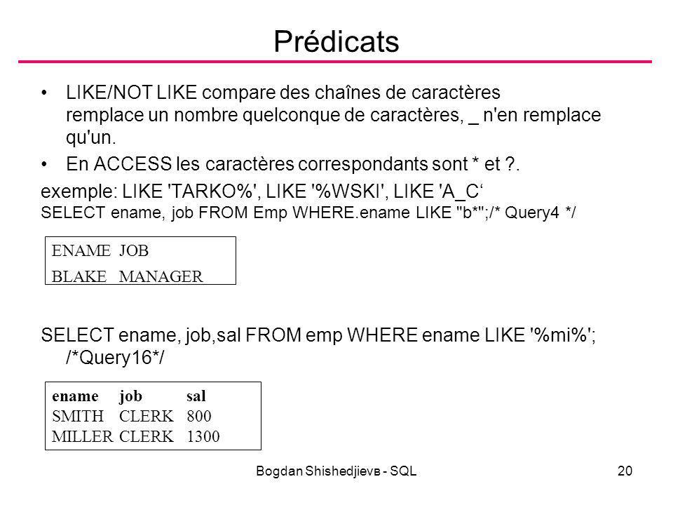Bogdan Shishedjievв - SQL20 Prédicats LIKE/NOT LIKE compare des chaînes de caractères remplace un nombre quelconque de caractères, _ n en remplace qu un.