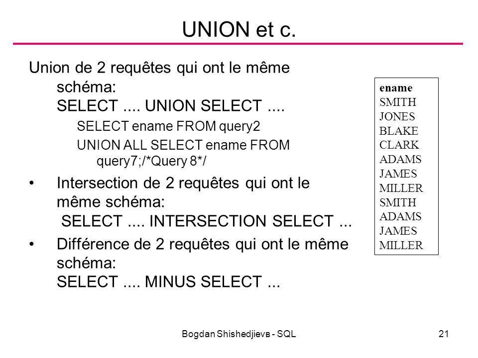 Bogdan Shishedjievв - SQL21 UNION et c. Union de 2 requêtes qui ont le même schéma: SELECT....
