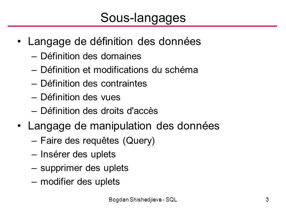 Bogdan Shishedjievв - SQL4 Définition des domaines Domaines élémentaires –Types caractères Char pour les caractères Char(n) pour les chaînes de n caractères (Varchar sous DB2) Varchar (sous ORACLE) pour les chaînes interfaçables avec des langages procéduraux.