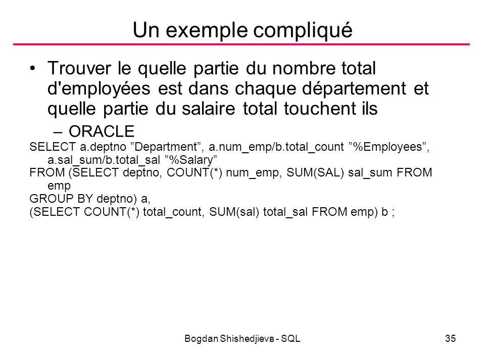 Bogdan Shishedjievв - SQL35 Un exemple compliqué Trouver le quelle partie du nombre total d employées est dans chaque département et quelle partie du salaire total touchent ils –ORACLE SELECT a.deptno Department , a.num_emp/b.total_count %Employees , a.sal_sum/b.total_sal %Salary FROM (SELECT deptno, COUNT(*) num_emp, SUM(SAL) sal_sum FROM emp GROUP BY deptno) a, (SELECT COUNT(*) total_count, SUM(sal) total_sal FROM emp) b ;