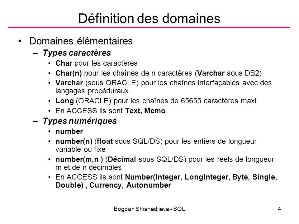 Bogdan Shishedjievв - SQL5 Définition des domaines Domaines élémentaires –Date (Time sous SQL/DS) représente une date sous une structure complexe à champs.