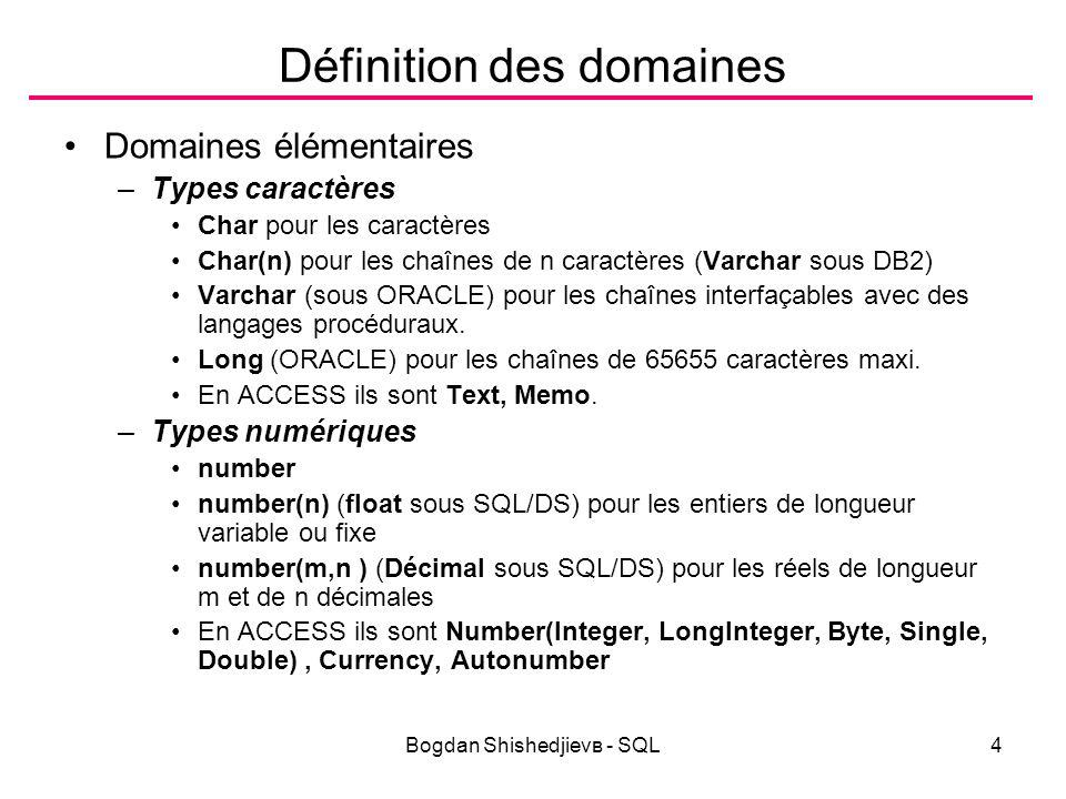 Bogdan Shishedjievв - SQL15 Opérateurs d expressions КодОперация +, -Положително, обратен знак *, /Умножение, деление +, -, || (&)Събиране, изваждане, конкатенация SELECT ENAME || ( || EMPNO || ) NAME , 2 * SAL DoubleSal FROM EMP; (Query 39) NAME DoubleSal SMITH(7369)1600 ALLEN(7499)3200 WARD(7521)2500 JONES(7566)5950 MARTIN(7654)2500 BLAKE(7698)5700 CLARK(7782)4900 SCOTT(7788)6000 KING(7839)10000 TURNER(7844)3000 ADAMS(7876)2200 JAMES(7900)1900 FORD(7902)6000 MILLER(7934)2600