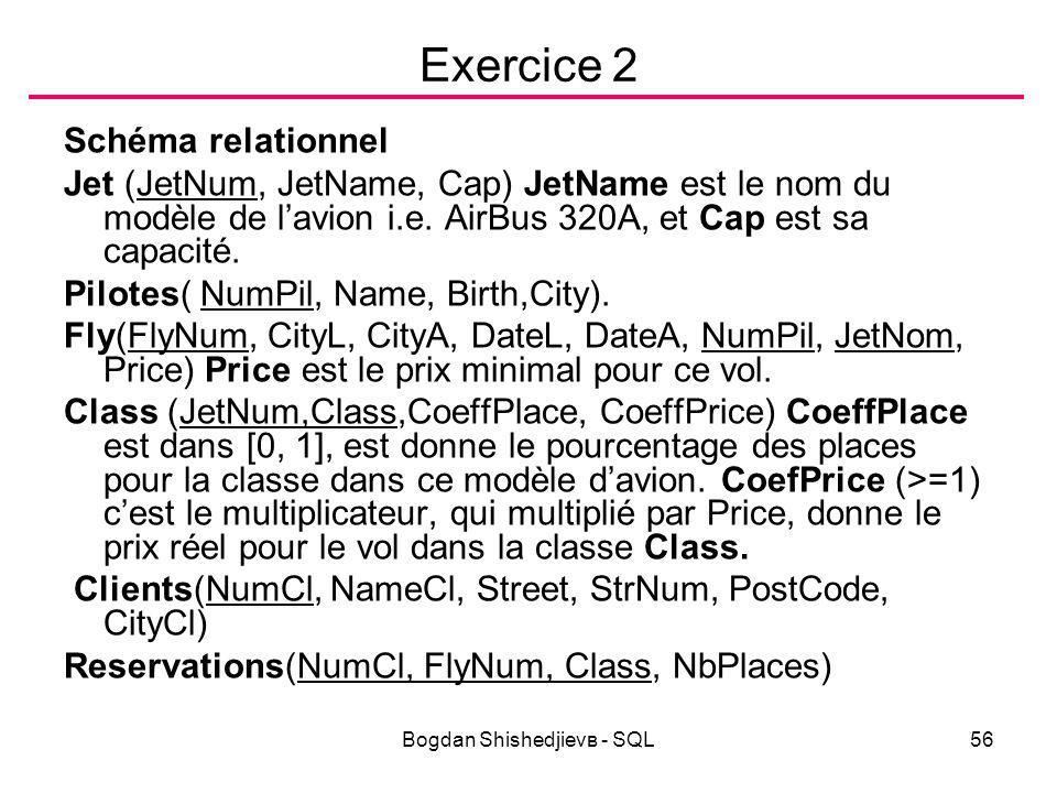 Bogdan Shishedjievв - SQL56 Exercice 2 Schéma relationnel Jet (JetNum, JetName, Cap) JetName est le nom du modèle de l'avion i.e.