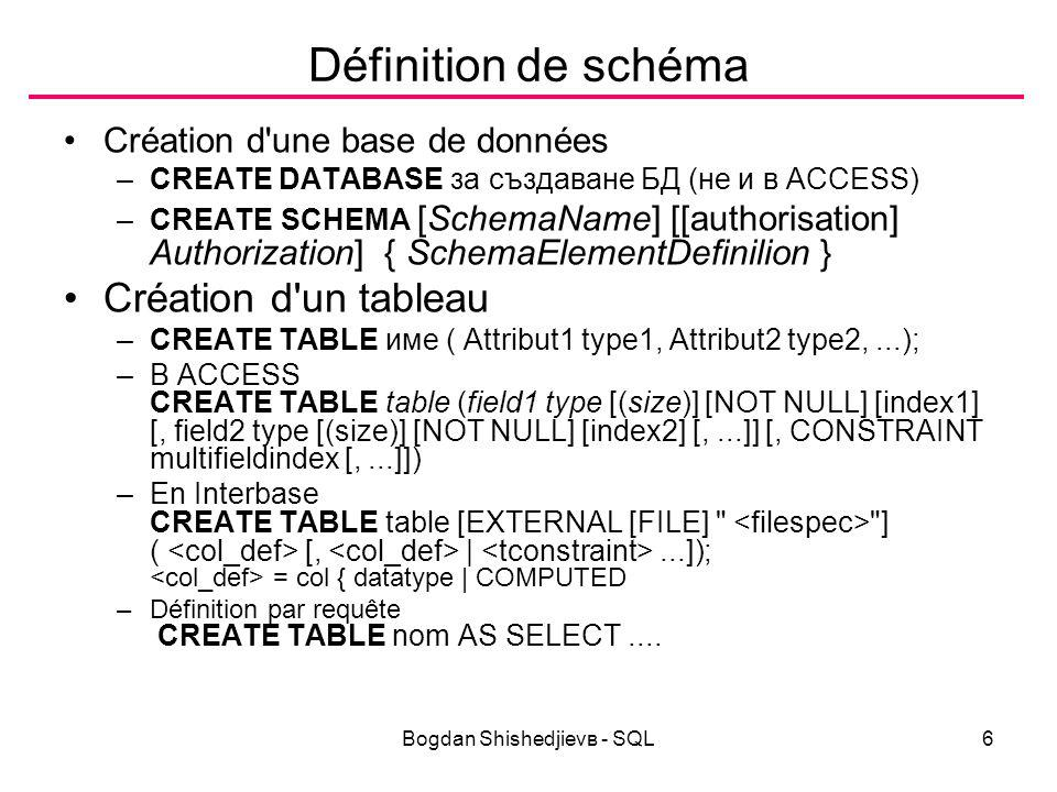 Bogdan Shishedjievв - SQL6 Définition de schéma Création d une base de données –CREATE DATABASE за създаване БД (не и в ACCESS) –CREATE SCHEMA [SchemaName] [[authorisation] Authorization] { SchemaElementDefinilion } Création d un tableau –CREATE TABLE име ( Attribut1 type1, Attribut2 type2,...); –В ACCESS CREATE TABLE table (field1 type [(size)] [NOT NULL] [index1] [, field2 type [(size)] [NOT NULL] [index2] [,...]] [, CONSTRAINT multifieldindex [,...]]) –En Interbase CREATE TABLE table [EXTERNAL [FILE] ] ( [, |...]); = col { datatype | COMPUTED –Définition par requête CREATE TABLE nom AS SELECT....