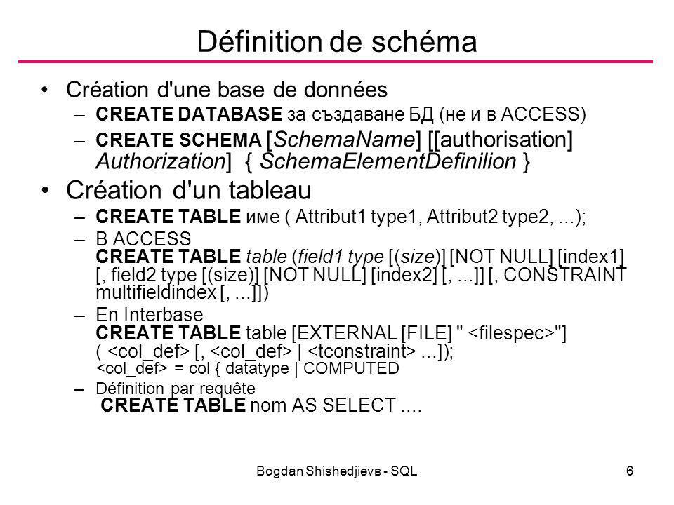 Bogdan Shishedjievв - SQL27 Jointure Produit cartésien SELECT * FROM emp, dept; /* Query17 */ Jointure avec qualification SELECT * FROM emp,dept WHERE emp.deptno = dept.deptno; /* Query18 */ En ACCESS ou Interbase: SELECT * FROM emp INNER JOIN dept ON emp.deptno = dept.deptno; /* Query19 */ On peut renommer le nom d une table (ou d une colonne) dans une requête à l aide d un alias (pseudonyme) plus simple à manipuler.