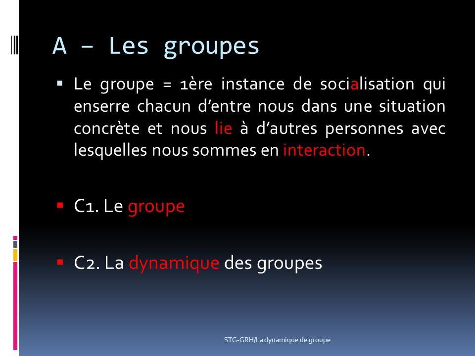STG-GRH/La dynamique de groupe A – Les groupes  Le groupe = 1ère instance de socialisation qui enserre chacun d'entre nous dans une situation concrèt