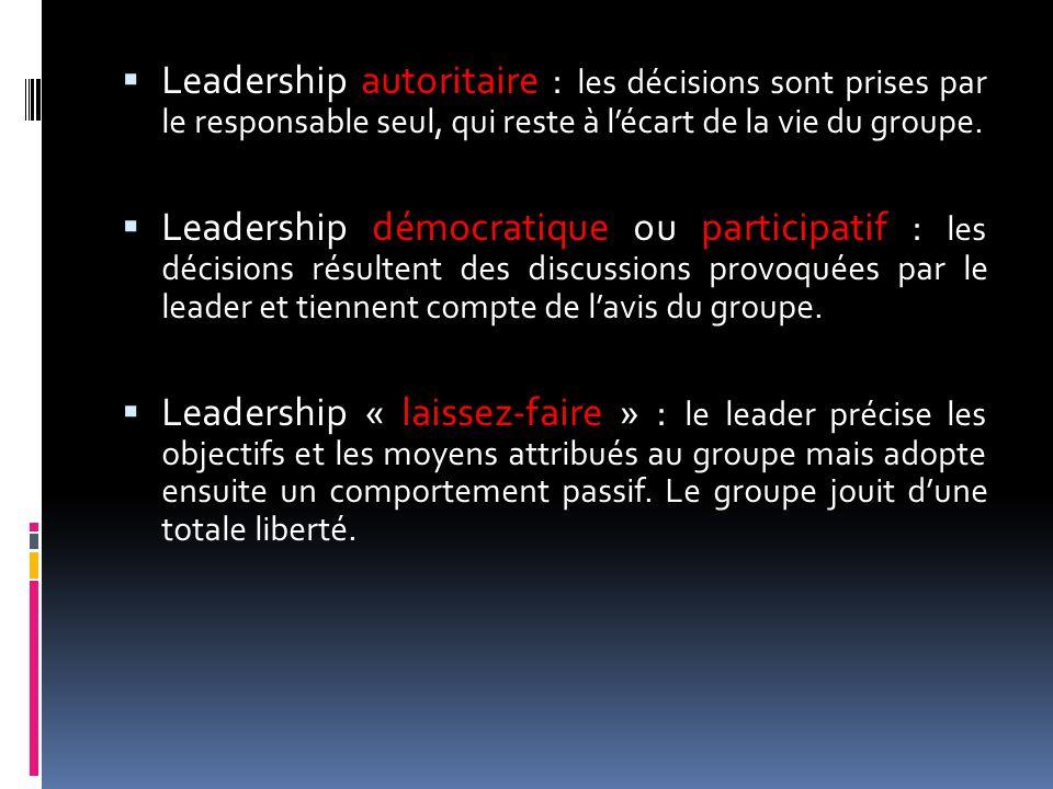  Leadership autoritaire : les décisions sont prises par le responsable seul, qui reste à l'écart de la vie du groupe.  Leadership démocratique ou pa