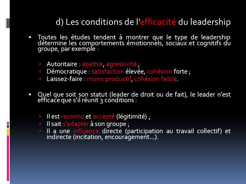 d) Les conditions de l'efficacité du leadership  Toutes les études tendent à montrer que le type de leadership détermine les comportements émotionnel