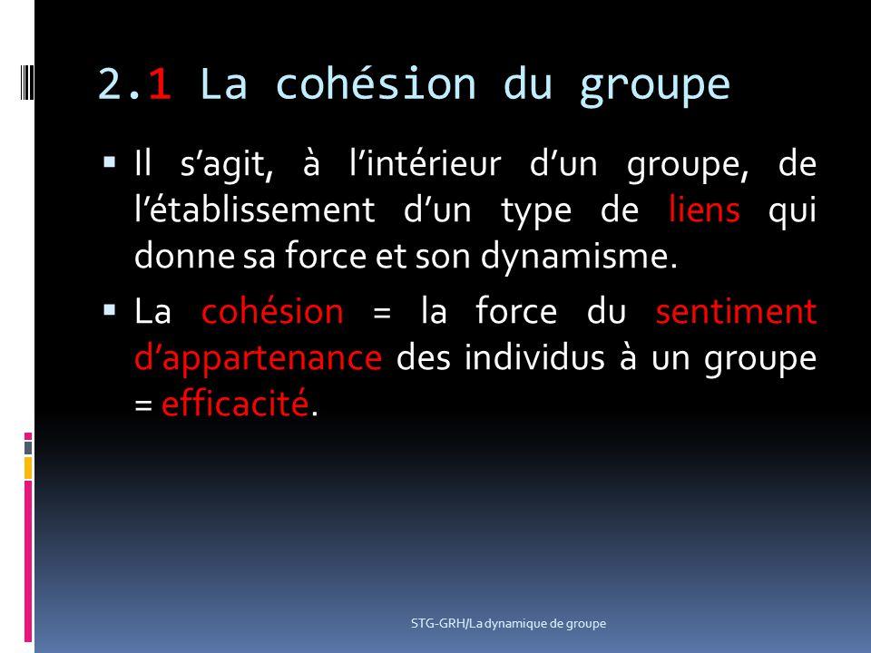 2.1 La cohésion du groupe  Il s'agit, à l'intérieur d'un groupe, de l'établissement d'un type de liens qui donne sa force et son dynamisme.  La cohé