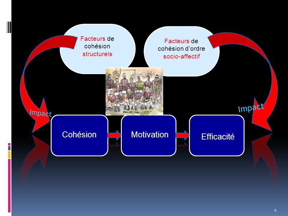 4 Cohésion Facteurs de cohésion structurels Impact Motivation Facteurs de cohésion d'ordre socio-affectif Efficacité Impact