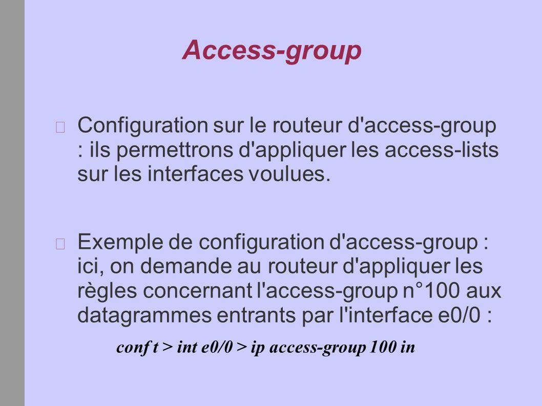 Access-group Configuration sur le routeur d access-group : ils permettrons d appliquer les access-lists sur les interfaces voulues.
