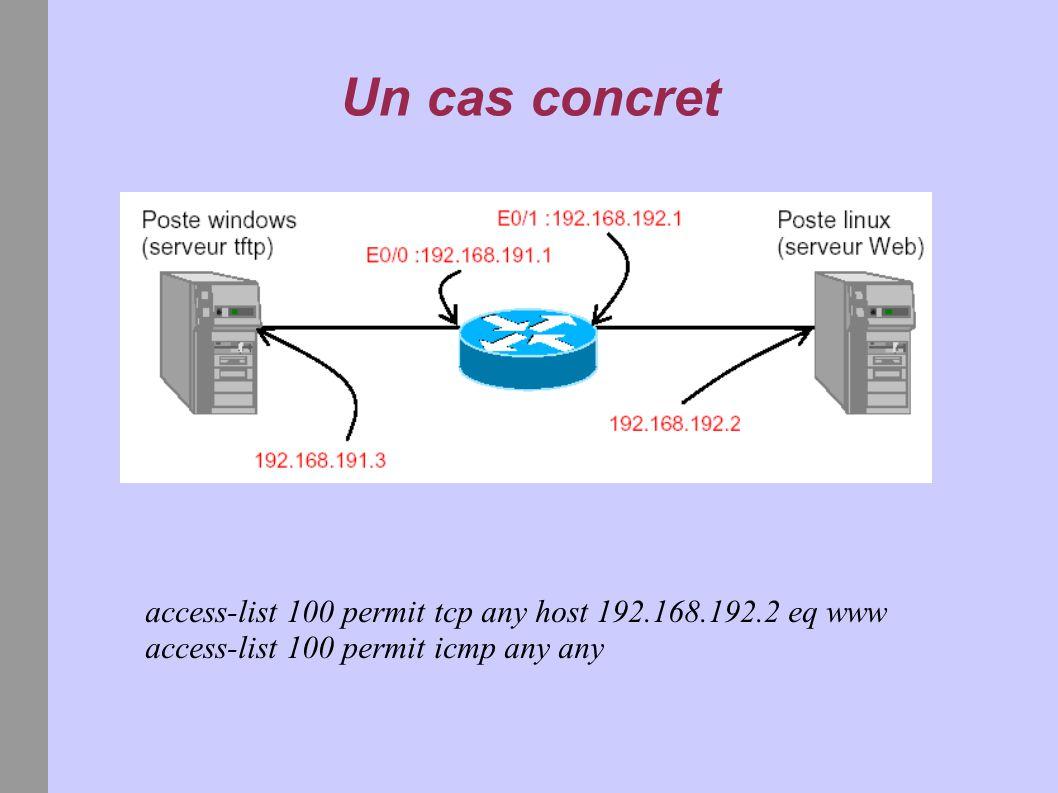 Un cas concret access-list 100 permit tcp any host 192.168.192.2 eq www access-list 100 permit icmp any any