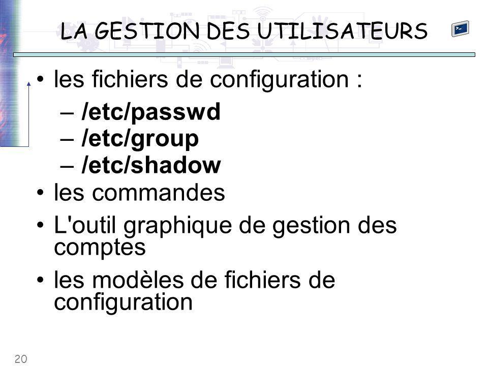 20 LA GESTION DES UTILISATEURS les fichiers de configuration : – /etc/passwd – /etc/group – /etc/shadow les commandes L outil graphique de gestion des comptes les modèles de fichiers de configuration