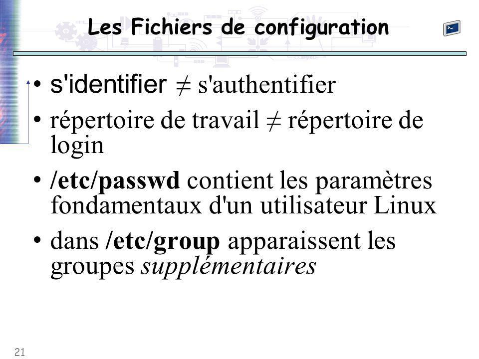 21 Les Fichiers de configuration s identifier ≠ s authentifier répertoire de travail ≠ répertoire de login /etc/passwd contient les paramètres fondamentaux d un utilisateur Linux dans /etc/group apparaissent les groupes supplémentaires