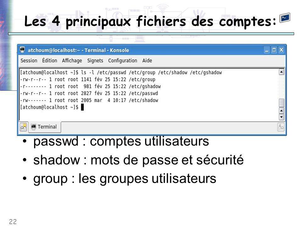 22 Les 4 principaux fichiers des comptes: passwd : comptes utilisateurs shadow : mots de passe et sécurité group : les groupes utilisateurs