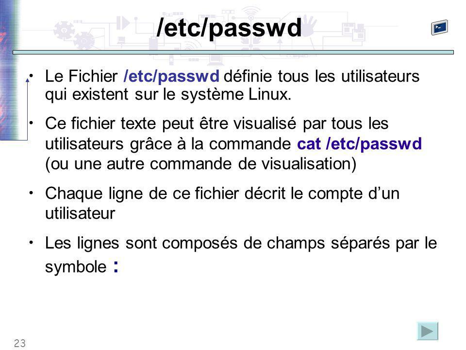 23 /etc/passwd Le Fichier /etc/passwd définie tous les utilisateurs qui existent sur le système Linux. Ce fichier texte peut être visualisé par tous l